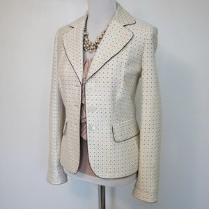 ANN TAYLOR Size 8 Ivory Jacket Blazer Polka dots